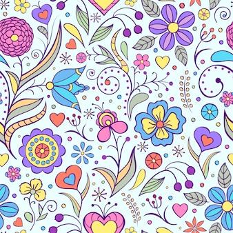 抽象的な花とのシームレスなパターンのベクトルイラスト