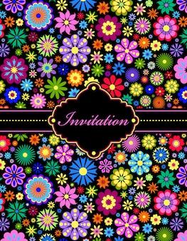 カラフルな花の招待状のベクトルイラスト