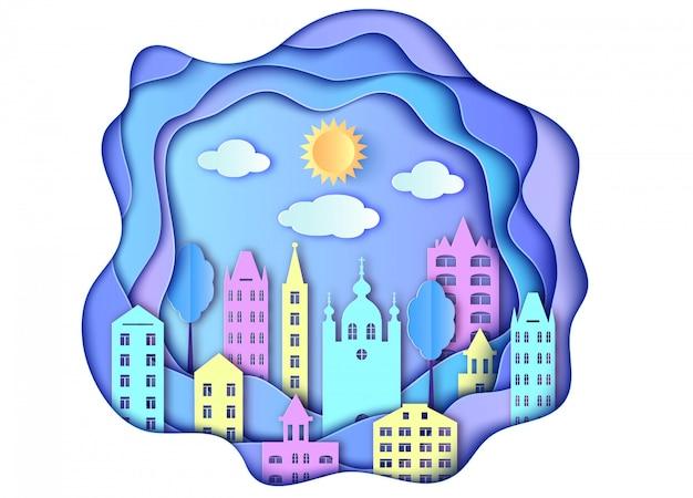 市太陽と紙アートスタイルの雲の建物