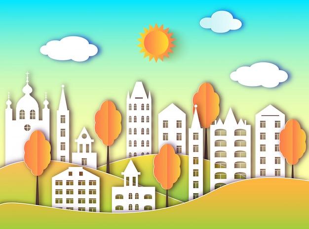 紙アートスタイルの大都会のカラフルな建物