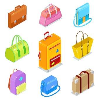 Набор красочных изометрических сумок и чемоданов на белом