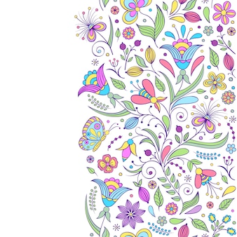 抽象的な花とのシームレスなパターン