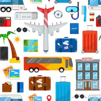 フラットスタイルの旅行のためのカラフルなシームレスパターン