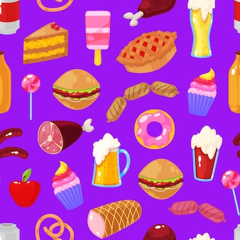 Фаст-фуд на фиолетовом фоне