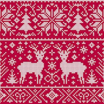鹿、木、雪の結晶クリスマスのシームレスパターンのベクトルイラスト