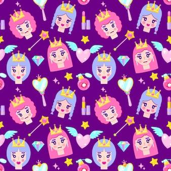 かわいいお姫様、ダイヤモンド、ハート、ミロー、白い背景の上の星とのシームレスなパターン
