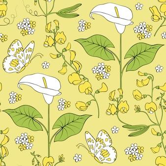 オランダカイウの花とのシームレスなパターン