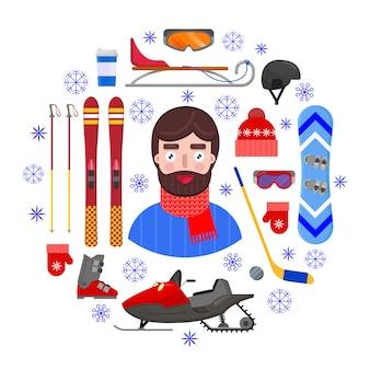 Жизнерадостный и счастливый человек в одеждах зимы и оборудовании зимы спорт на белой предпосылке. иллюстрация вектора.