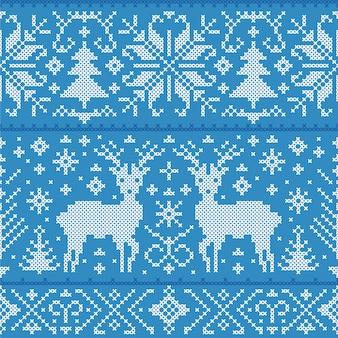 鹿、木、雪の結晶クリスマスのシームレスパターンのイラスト