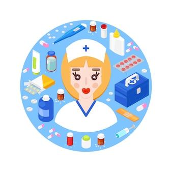 さまざまな医療機器を持つ若い医者。ヘルスケアの概念