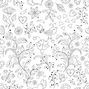 シームレスな花柄のベクトルイラスト