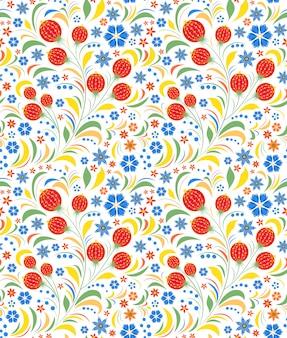 Бесшовный узор традиционный русский цветочный орнамент