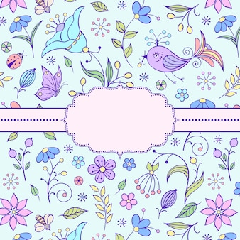 花柄のフレームのベクトルイラスト。