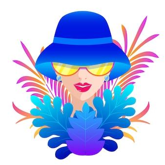青い帽子の女