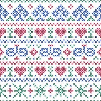 シームレスパターン刺繍クロスステッチスタイル