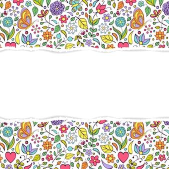 破れた紙と花のフレームの背景
