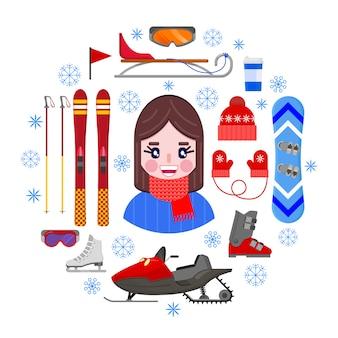 少女とスポーツの冬用具