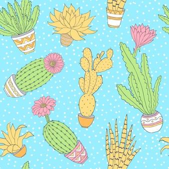 多肉植物とのシームレスなパターン