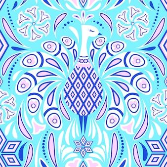 孔雀とカラフルなパターン