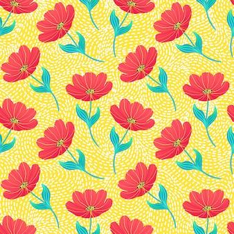 Узор с яркими тюльпанами