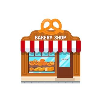 Пекарня магазин в плоском стиле