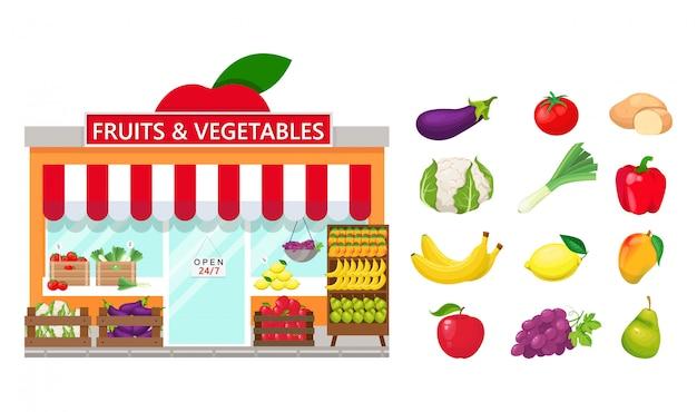 Продуктовый магазин и фрукты и овощи