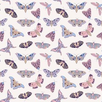 Узор с бабочками и мотыльками