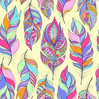 カラフルな抽象的な羽とのシームレスなパターン