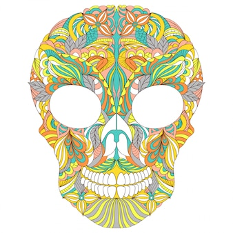 白い背景の上の花の頭蓋骨のベクターイラストです。