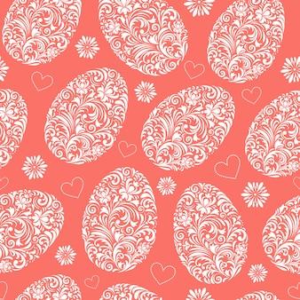 花柄イースターエッグとのシームレスなパターン