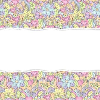破れた紙と抽象的なシームレスパターン