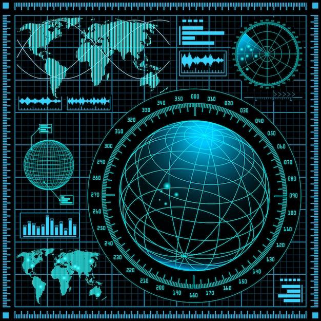 Экран радара с картой мира
