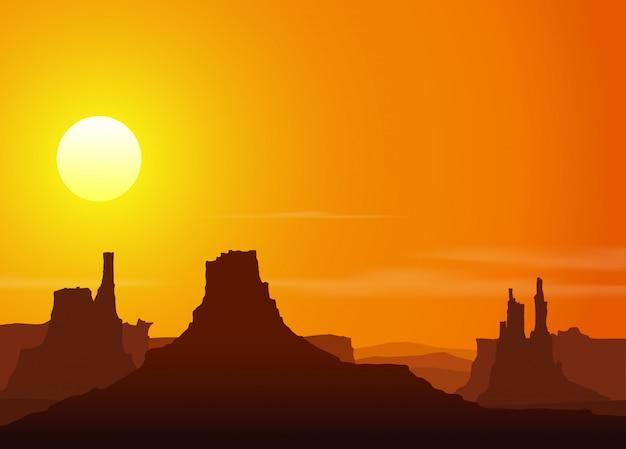ロッキー山脈の夕日