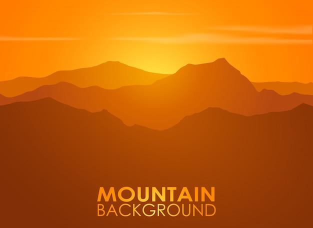 日没の山脈