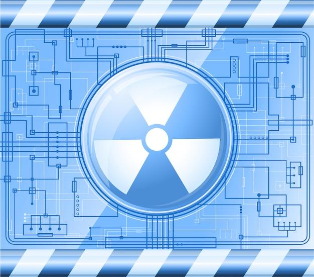放射線の印の付いたボタン