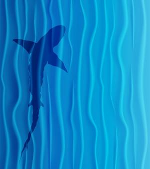海のサメのシルエット