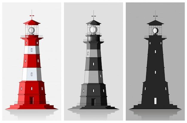 Маяки. набор больших маяков на сером фоне