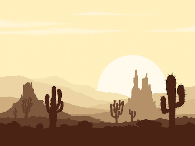 Закат в каменной пустыне с кактусами
