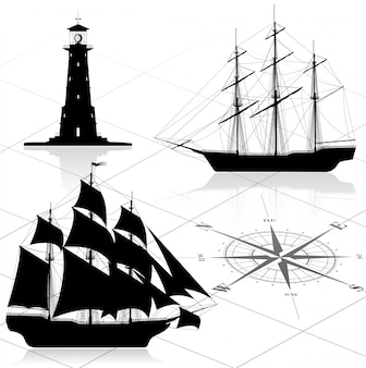 航海デザイン要素のセット