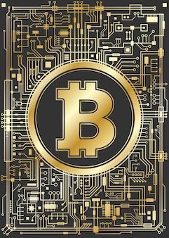 Золотой биткойн фон цифровой валюты