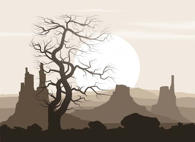 古い巨大な木と夕日の山々と活気のない風景。