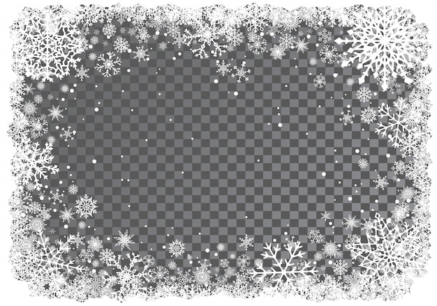 Рождественский фон с рамкой из снежинок