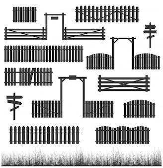 門と黒いフェンスのセット
