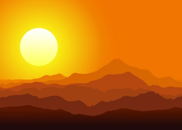 巨大な山々に沈む夕日