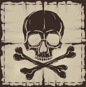 頭蓋骨とクロスボーン上の古い破損した地図