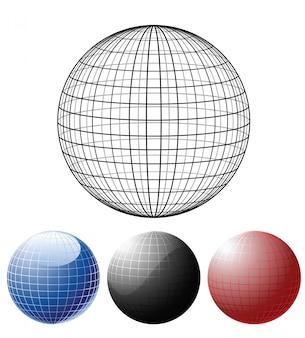 色付きの地球儀のセット