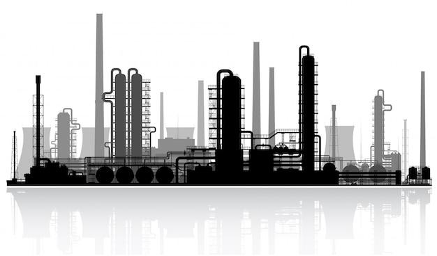 石油精製所のシルエット