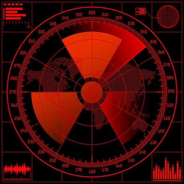 Экран радара с радиоактивным знаком.