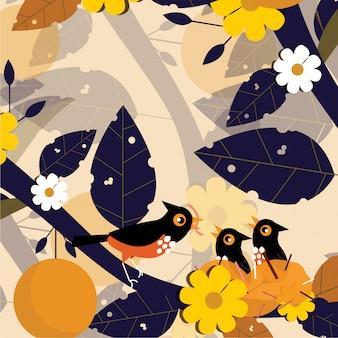 Цветочные листья бесшовные узор фона