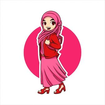 装飾のためのピンクのかわいい女性ヒジャーブのイラストベクトル